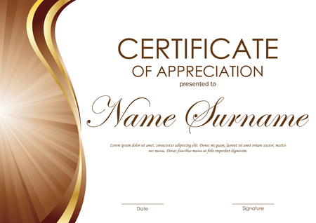 Certificate of appreciation template with brown and gold wavy curved swirl background. Vector illustration Ilustração