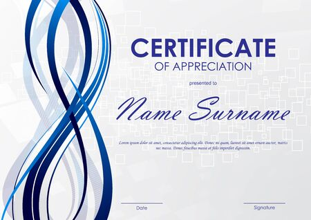 Certificate of appreciation template with gray digital square pattern and blue dynamic wavy curved background. Vector illustration