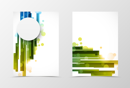 blue lines: Front and back digital flyer template design. Abstract template with blue and green straight lines and gray paper circle in motion style. Vector illustration