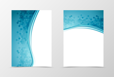 Front and back science flyer template design. Abstract template with blue lines and hexagons surface in wavy style. Vector illustration Illustration