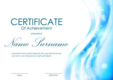Certificado de la plantilla de logro con luz azul transparente ondulado borroso fondo suave. Ilustración del vector