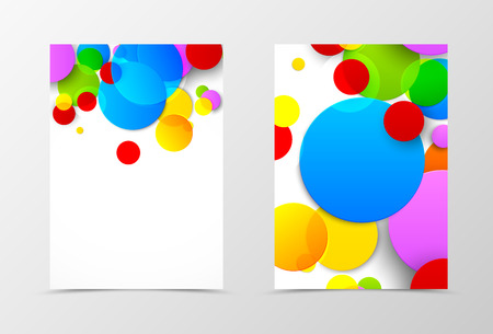 technologic: Front and back dynamic flyer template design. Abstract template with colorful circles in geometric style. Vector illustration Illustration
