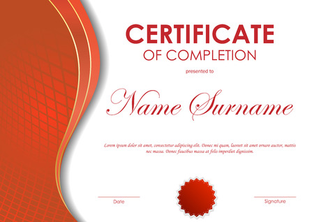 completion: Certificate of completion template with red digital dynamic grid wavy background and seal. Vector illustration