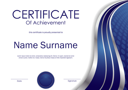 Certificate of achievement template with blue and silver wavy swirl background and seal. Vector illustration Illustration