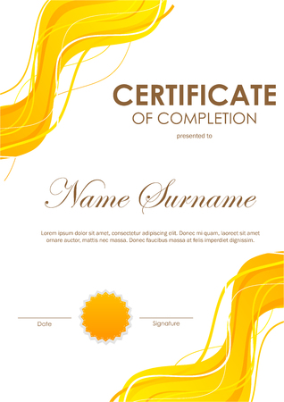 Certificate of completion template with dynamic orange bright wavy background and seal. Vector illustration Illustration