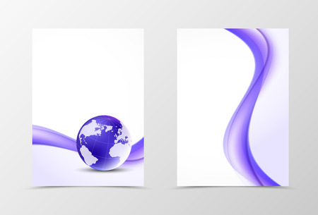 elegant white: Front and back dynamic flyer template design. Abstract template with purple lines and globe in wavy light style. Vector illustration