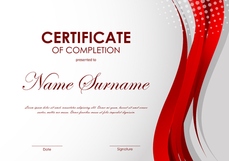 completion: Certificate of completion template with dynamic red light wavy background and halftone effect. Vector illustration