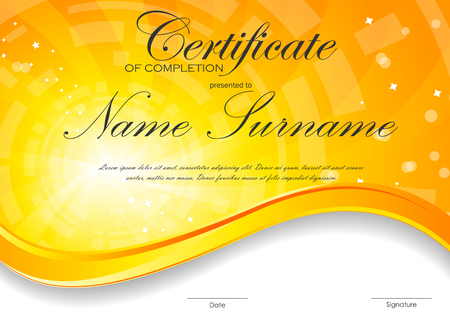 completion: Certificate of completion template with digital orange light wavy swirl background. Vector illustration