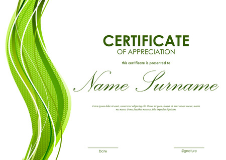 curved: Certificate of appreciation template with green dynamic bright wavy textured background. Vector illustration