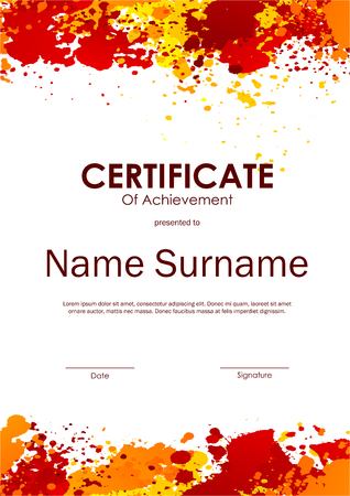 yellow orange: Certificate of achievement template with light colorful grunge background. Vector illustration