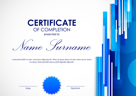 Certificate Of Completion Template With Digital Blue Light Straight ...