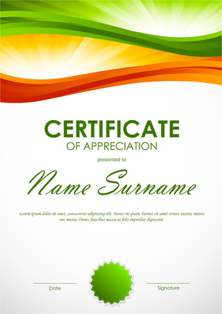 green swirl: Certificate of appreciation template with green and orange dynamic wavy swirl background and seal. Vector illustration