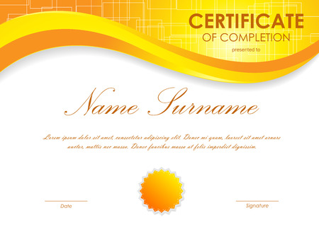 completion: Certificate of completion template with digital orange light wavy square surface background and seal. Vector illustration Illustration