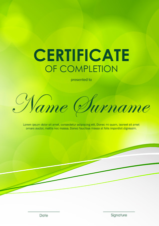 completion: Certificate of completion template with bright green blurred wavy background. Vector illustration Illustration