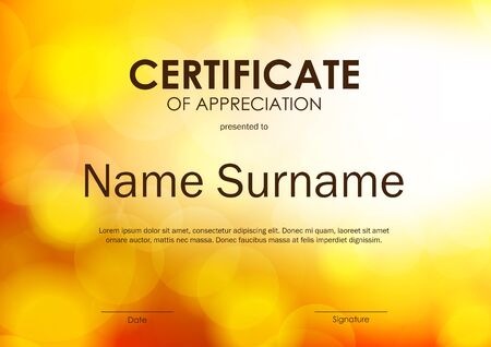 award background: Certificate of appreciation template with bright orange blurred background. Vector illustration Illustration
