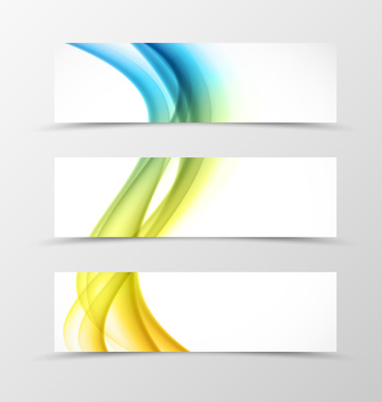 wave abstract: Set of header banner dynamic design with colorful lines in wavy soft style. Vector illustration