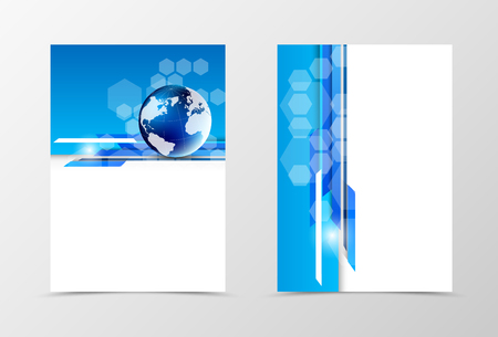 dynamic: Front and back digital flyer template design. Abstract template in blue colors with globe and hexagons in dynamic futuristic style. Vector illustration