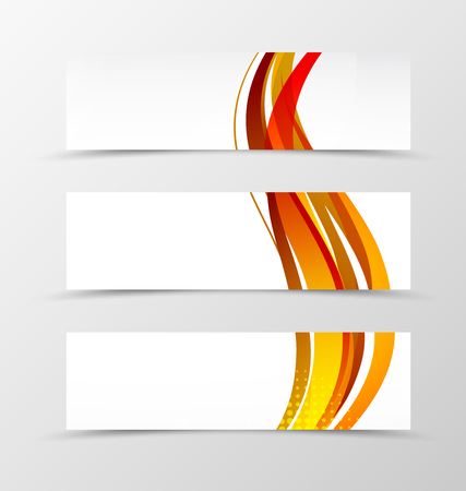 red sunset: Set of header banner wave design with orange lines and halftone effect in dynamic style. Vector illustration