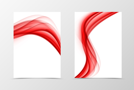 red and white: Front and back wave flyer template design. Abstract template with red smooth lines in soft style. Vector illustration