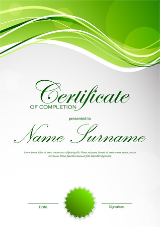 light green: Certificate of completion template with green dynamic light wavy background and seal. Vector illustration