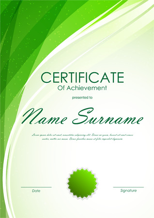 green swirl: Certificate of achievement template with green dynamic light wavy swirl background and seal. Vector illustration