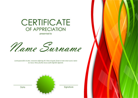 green swirl: Certificate of appreciation template with colorful light wavy swirl background and green seal. Vector illustration