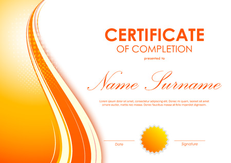 Certificate of completion template with digital vivid orange wavy background and seal. Vector illustration