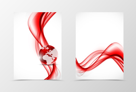 digital wave: Front and back wave flyer template design. Abstract template with red lines and globe in digital soft style. Vector illustration Illustration