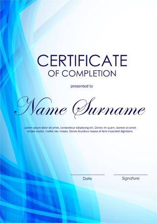 completion: Certificate of completion template with blue wavy curved light background. Vector illustration