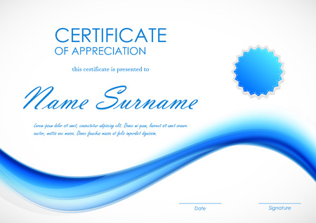 Certificate of appreciation template with blue dynamic light soft wavy background and seal. Vector illustration