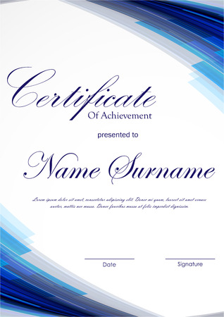 technologic: Certificate of achievement template with blue dynamic digital light background. Vector illustration