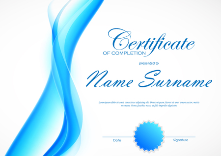 completion: Certificate of completion template with blue dynamic light soft wavy smoky background and seal. Vector illustration