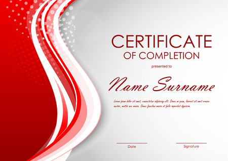 completion: Certificate of completion template with digital light red dynamic wavy background. Vector illustration