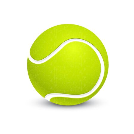 Big tennis ball isolated on white. Vector illustration for open championship