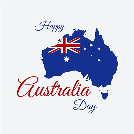 election: Happy Australia day concept. Continent map in flag color style. Vector illustration Illustration