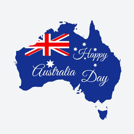 Happy Australia day concept. Continent map in flag color style. Vector illustration Illustration