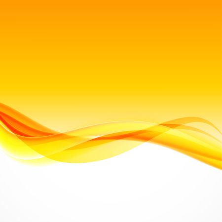 Abstract wavy dynamic design background with orange and yellow curved lines in smooth style. Vector illustration