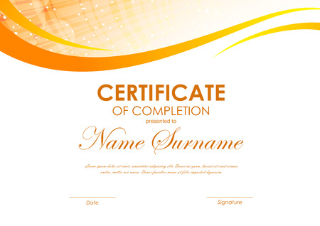 completion: Certificate of completion template with digital dynamic orange wavy background. Vector illustration Illustration