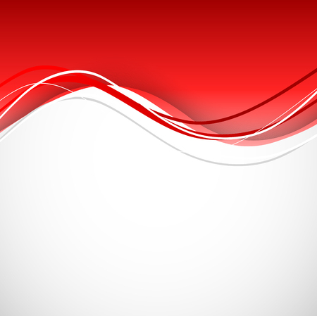 Abstract dynamic design background with wavy red lines in elegant smooth style. Vector illustration