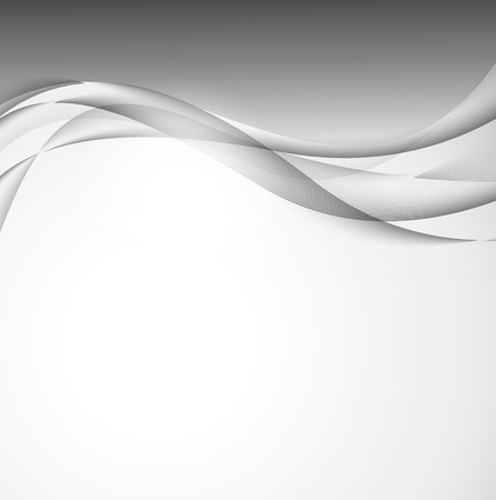 Abstract wavy design background with gray elegant curved light lines in soft dynamic style. Vector illustration