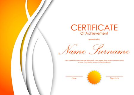 white achievement: Certificate of achievement template with orange and white wavy light background and seal. Vector illustration Illustration