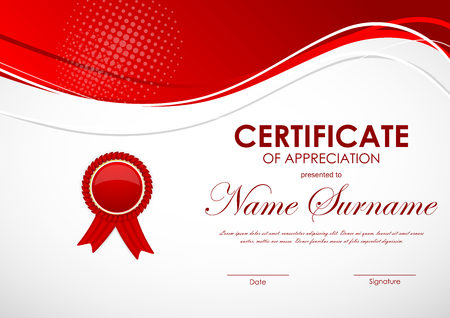 technologic: Certificate of appreciation template with red wavy digital light background and label. Vector illustration