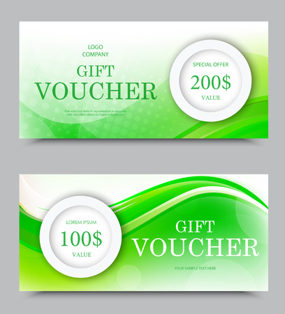 Gift company voucher template on two and one hundred dollars with light circles and green wavy bent soft lines pattern. Vector illustration