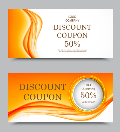 Gift company voucher template on fifty percent rate discount with wavy orange soft light pattern. Vector illustration