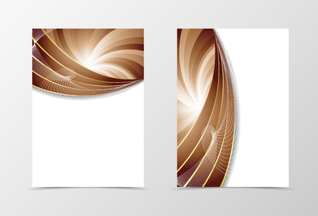 brown swirl: Front and back wave flyer template design. Abstract template with brown bent lines in swirl dynamic style. Vector illustration