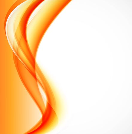 Abstract dynamic design background with orange curved soft light lines in wavy style.