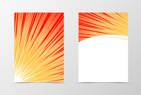 style template: Front and back sunburst flyer template design. Abstract template with colorful rays in bright dynamic style. Vector illustration