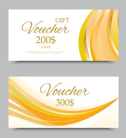 Geschenkgutscheinschablone auf drei und zweihundert Dollar mit weißem Hintergrund und hellem gewelltem buntem gebogenem Muster. Vektor-Illustration