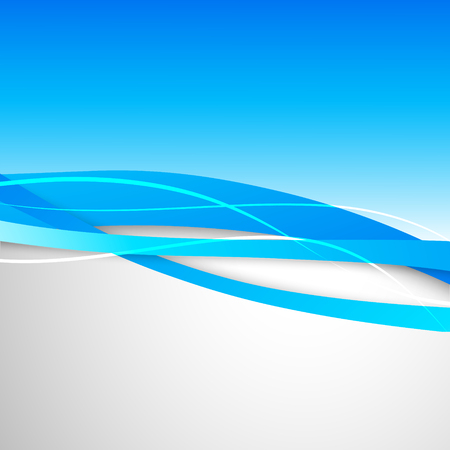 Abstract wavy design background with blue dynamic bent lines in soft smooth style. Vector illustration