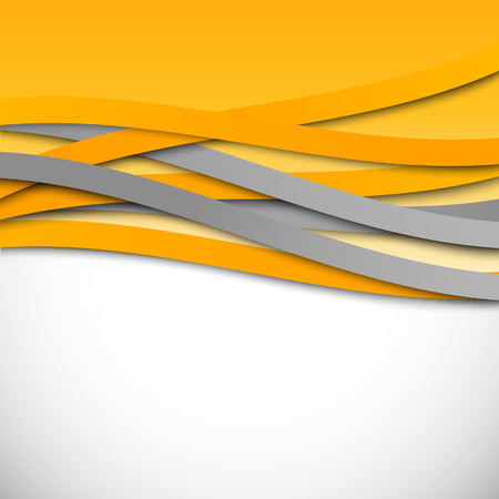 Abstract wavy design background with orange curved lines in dynamic interweaving light style. Vector illustration
